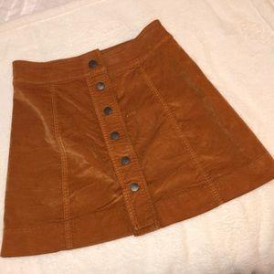 burnt orange Madewell velvet button up skirt